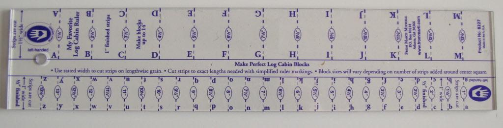 Log Cabin liniaal 1/2 en 1 inch